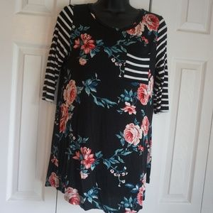Tops - Ladies Floral and Striped Blouse
